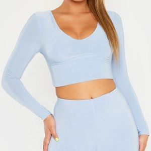 pretty little thing baby blue crop top